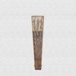 Palo Santo wood fan polished. Ivory cotton fabric.