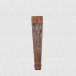Bubinga polished wood fan. Cotton fabric color hazel. - Abanicos Vibenca