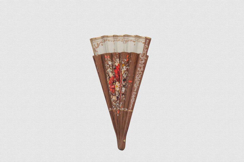 Polished bubinga wood fan. Ivory cotton cloth.