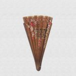 Polished Danta wood fan. Cotton hazelnut color cloth