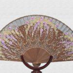 Polished Danta wood fan, gray cotton fabric.