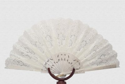 Ivory lacquered wood fan, hand painted and engraved