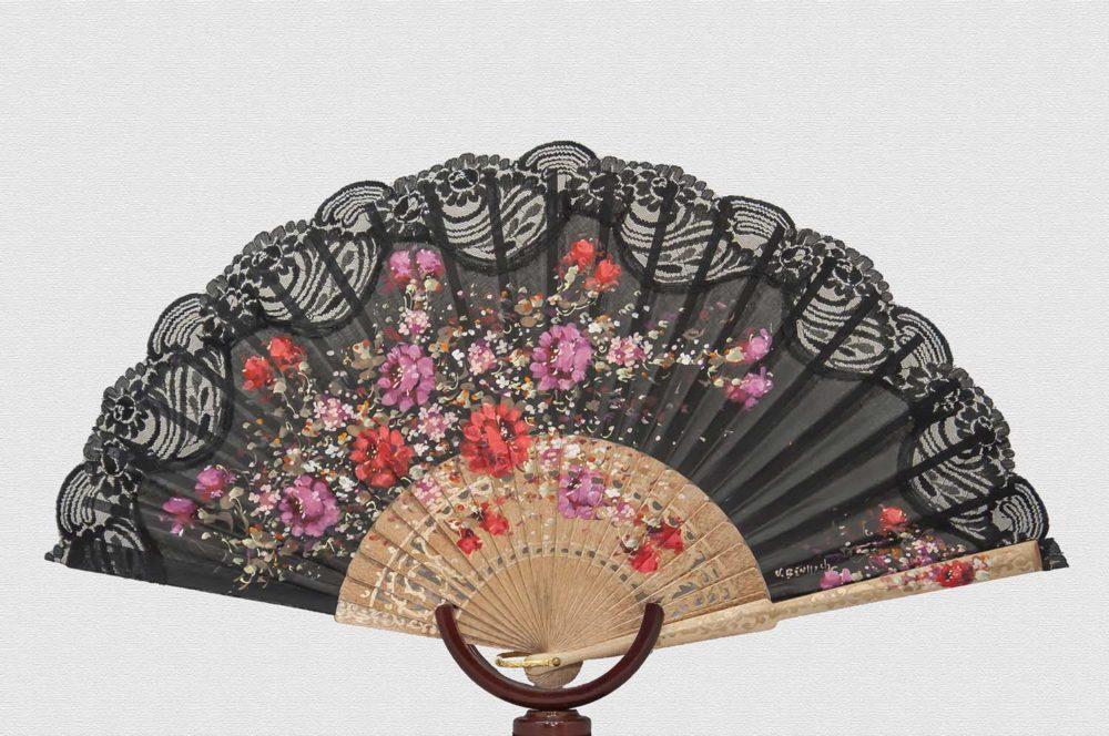 Fan polished birch wood cotton fabric and nylon lace