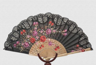 Fan polished birch wood cotton fabric and nylon lace
