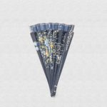 Danta wood fan varnished in navy blue and blue cotton fabric