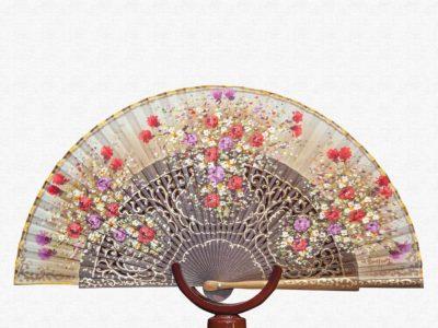 Palo Santo wood fan polished with ivory cotton cloth